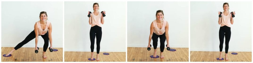 Lateral Lunge and Narrow Squat Double Curl | Slider Barre Workout |