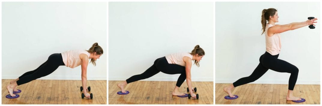 Plank, low lunge to shoulder raise | Slider Barre Workout |