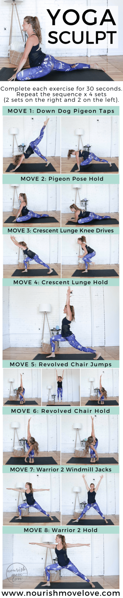 20-Minute Beginner HIIT Cardio Yoga Workout | www.nourishmovelove.com