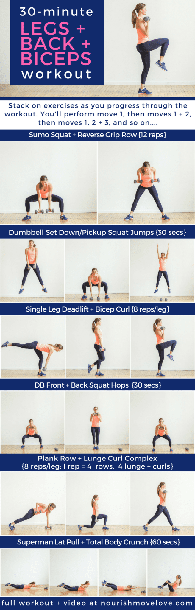 30-Minute Legs + Back + Biceps Workout