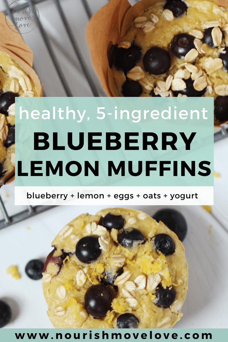 Healthy, 5-Ingredient Lemon Blueberry Muffins
