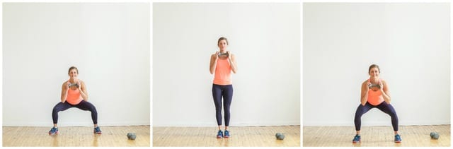 db front and back squat hops collage| 30 minute legs back biceps workout | www.nourishmovelove.com