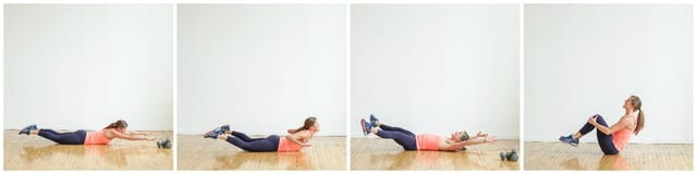 superman lat pull total body crunch collage| 30 minute legs back biceps workout | www.nourishmovelove.com