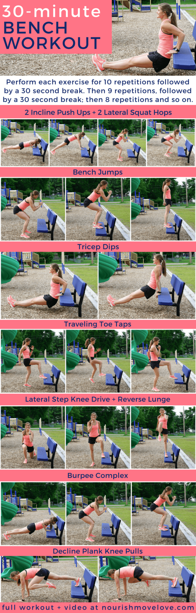 Bodyweight Bench HIIT Workout | www.nourishmovelove.com