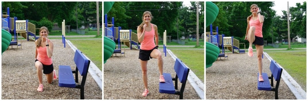 Lateral Step Knee Drive + Reverse Lunge   Bench Workout