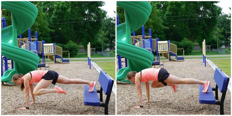Decline Plank Knee Pulls   Bench Workout