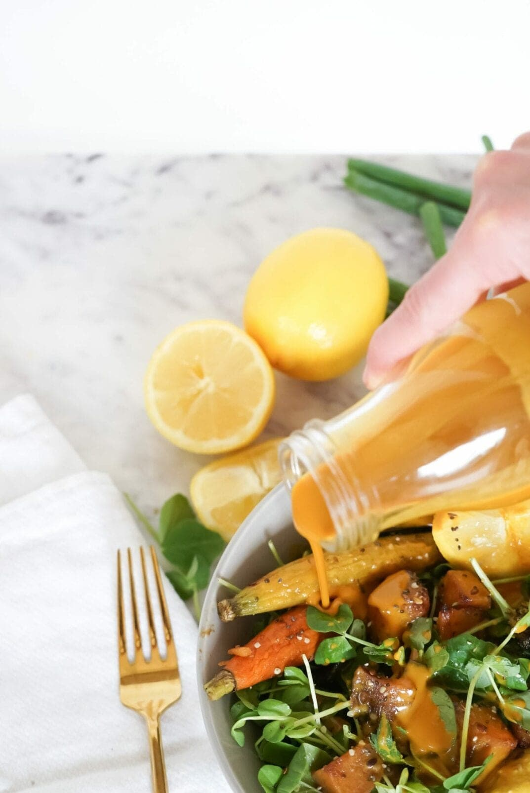 Lemon Turmeric Salad Dressing | roasted veggie salad with lemon turmeric dressing | nourish move love