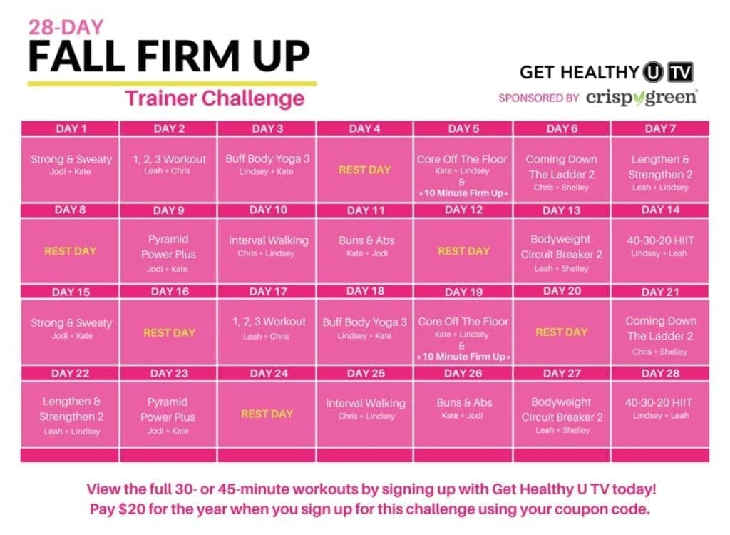 28-Day Fall Firm Up Challenge Workout Calendar