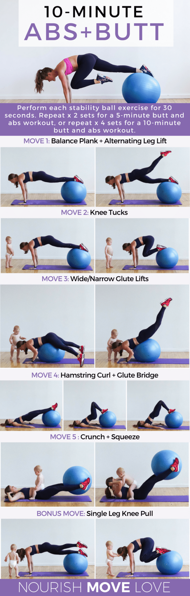 10 Minute Butt Abs Stability Ball Workout Nourish Move