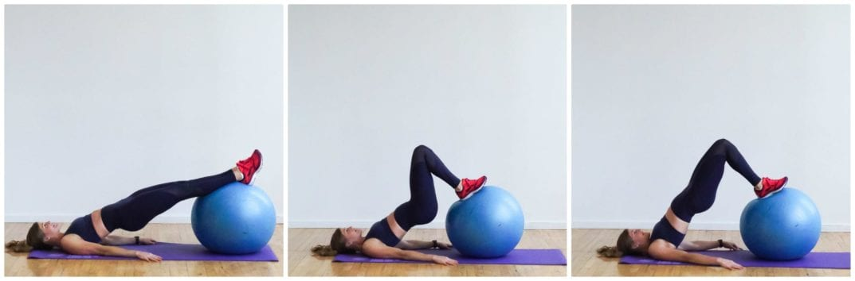 Stability Ball Hamstring Curl + Glute Bridge