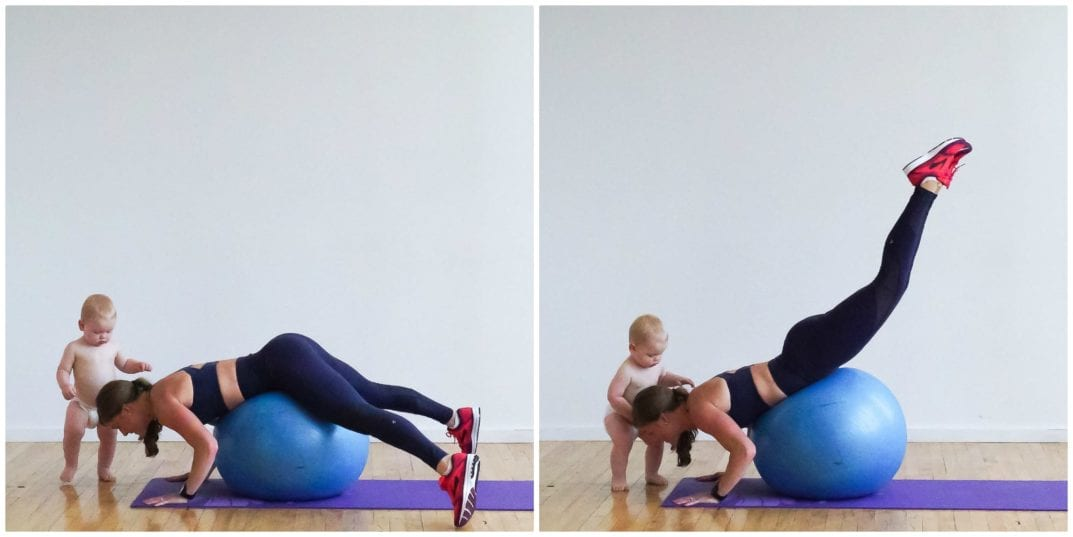 Stability Ball Glute Lifts