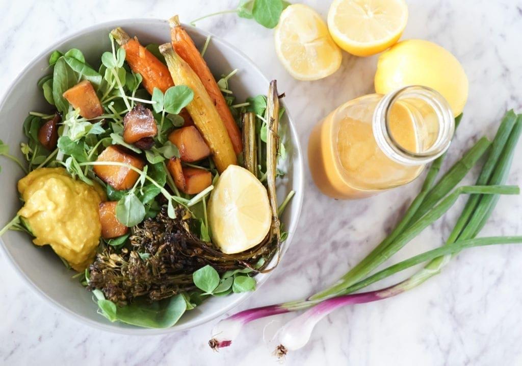 Roasted Vegetable Harvest Salad Bowl   Meal Prep   Vegan   Lemon Turmeric Dressing