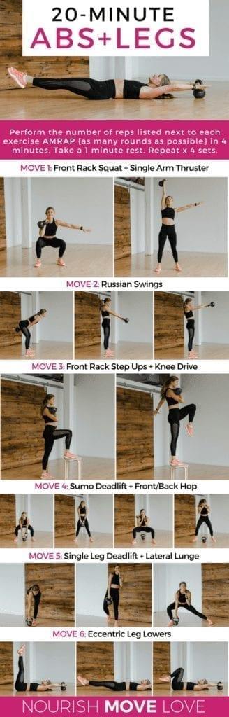 20 Minute Kettlebell Workout | Leg Workout | Core Workout | Ab Workout | Workout for Women | At Home Workout