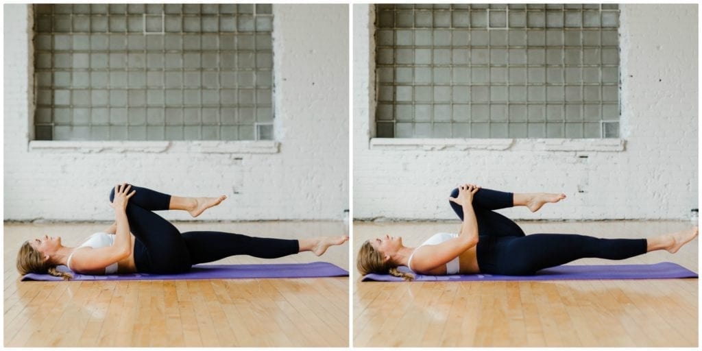 Lying Bent Knee Pulls | 7 best postpartum exercises for core recovery | Diastasis Recti