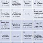 Workout calendar for women at home
