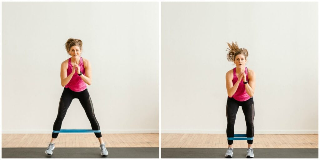 Resistance Band Squat Jumps for toned legs