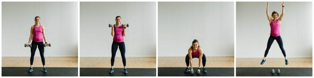 2 Bicep Curls + Squat Jump Exercise