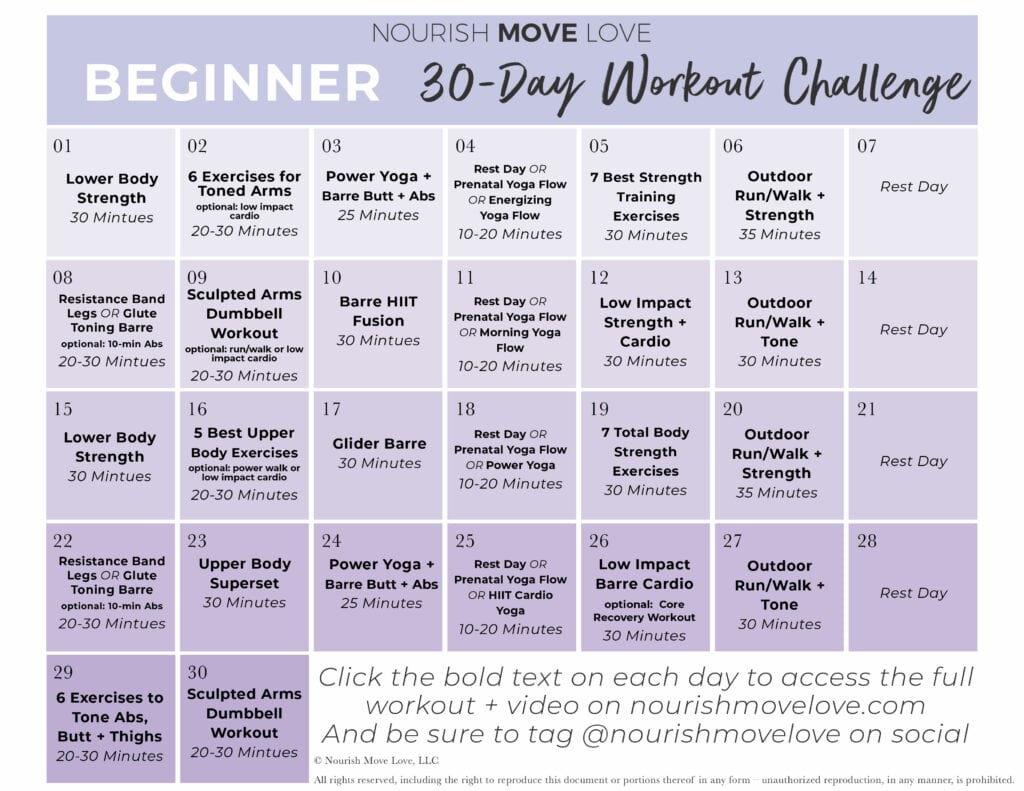 Beginner Workout Plan | workout calendar