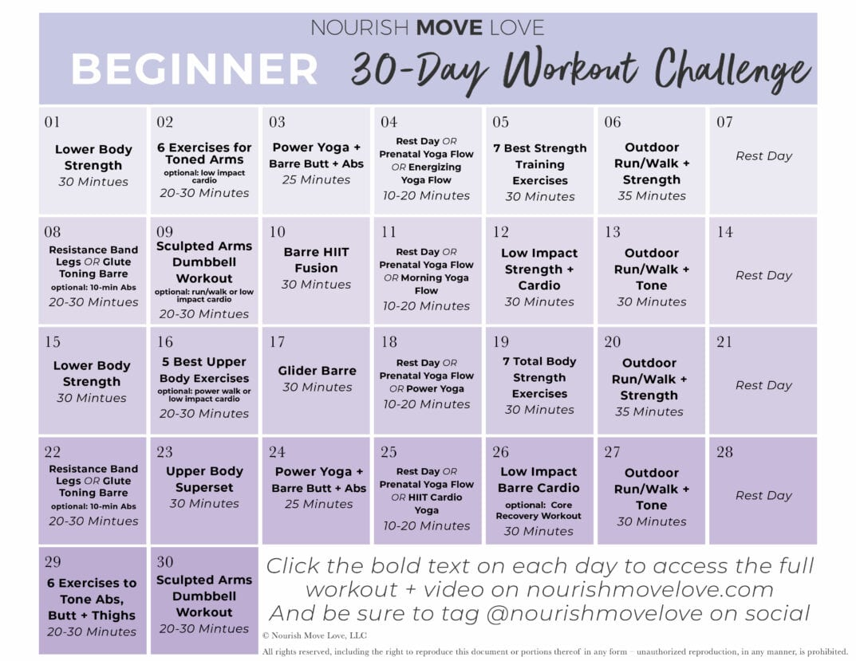 Beginner Workout Plan + 30-Day Workout Calendar | Nourish ...