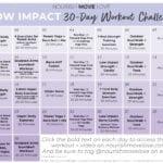 Low Impact Workout Calendar