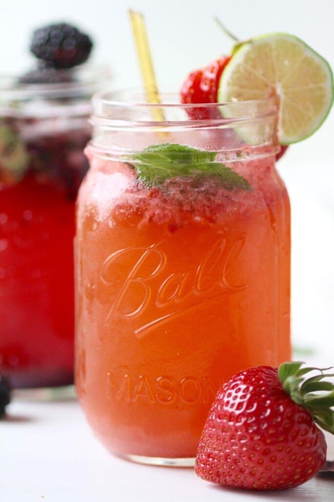 Strawberry mint mojita cocktail