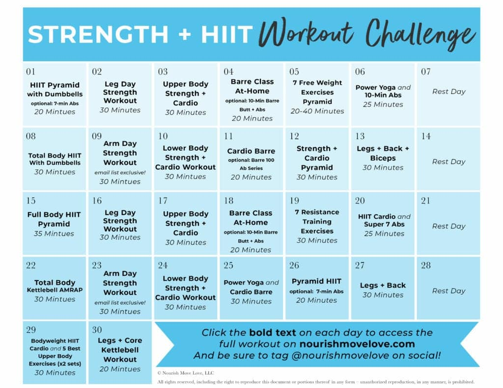 30-Day Fitness Challenge and hiit workout plan
