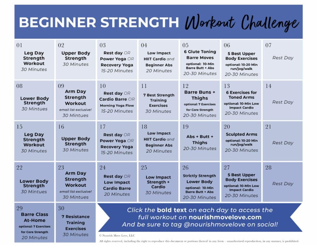 30-day beginner workout plan