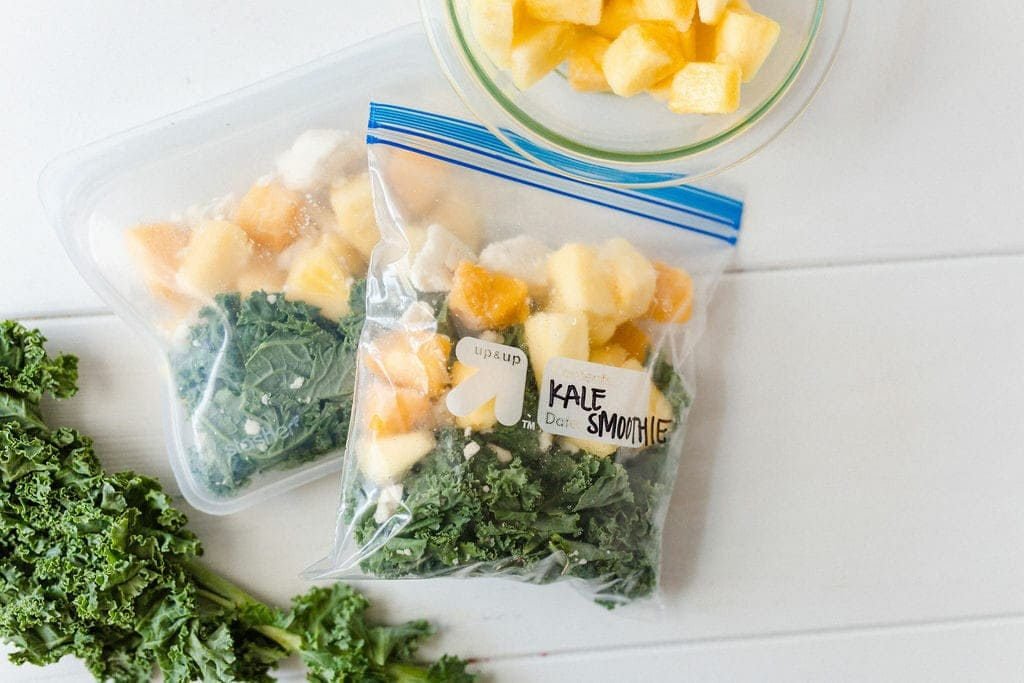 meal prep kale smoothie packs