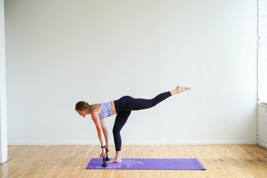Barre workout rear leg lift