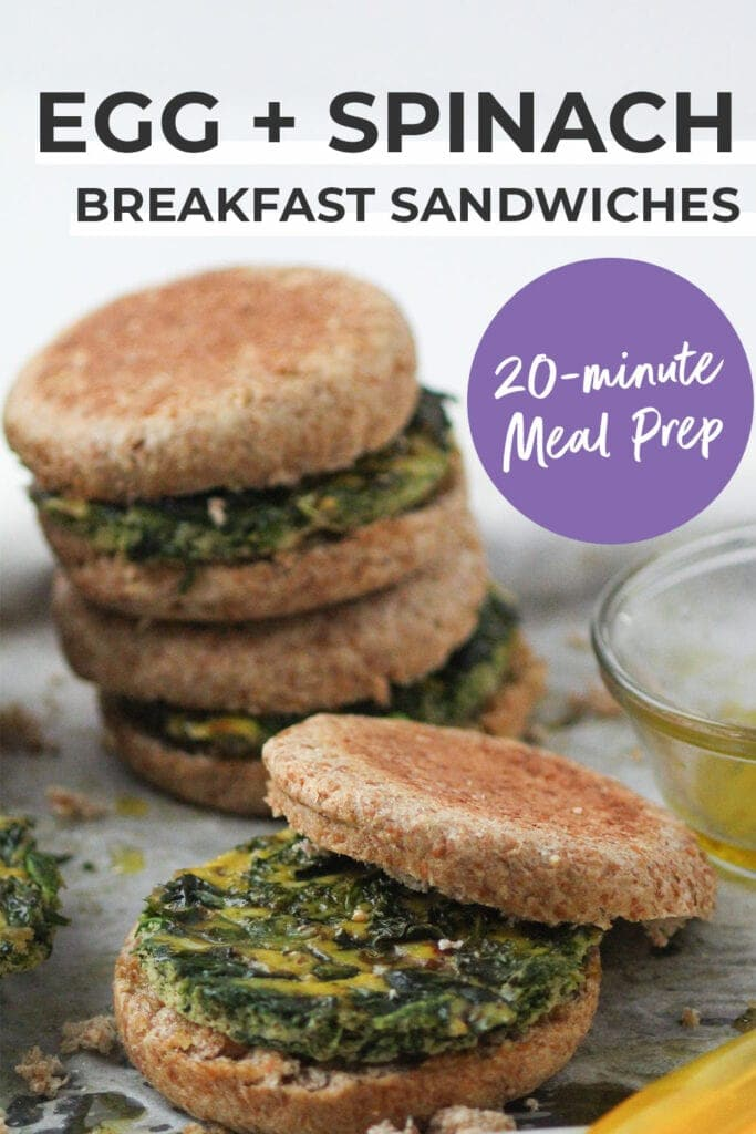 Meal Prep Egg and Spinach Breakfast Sandwiches