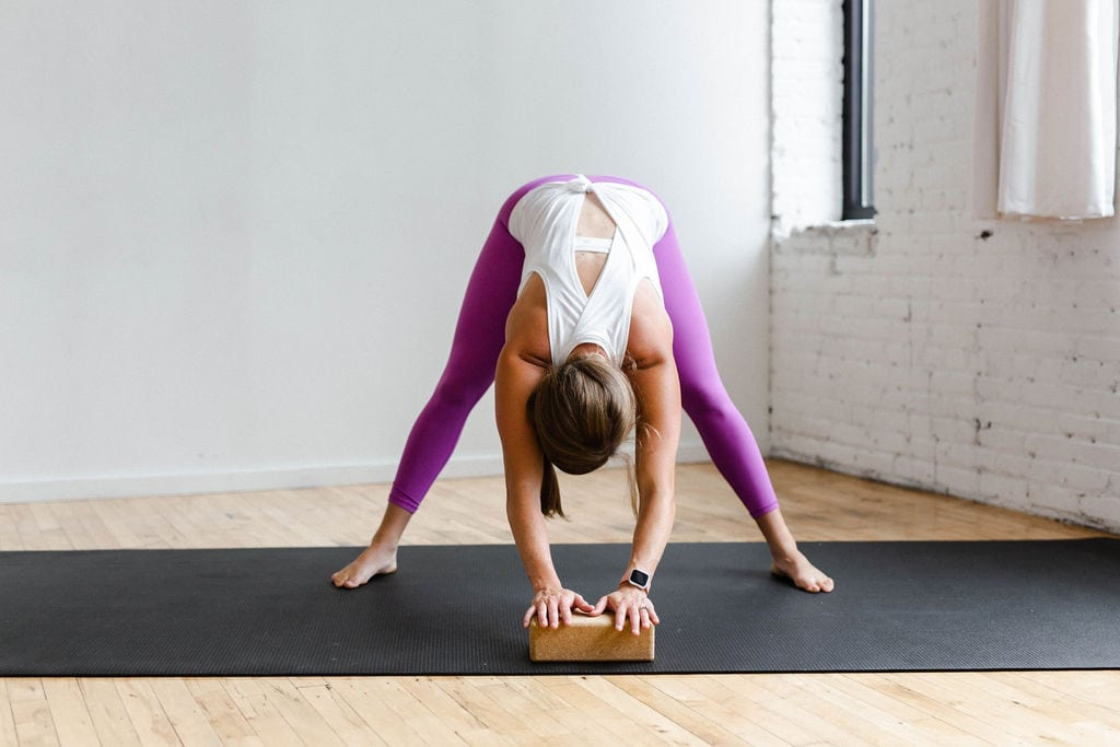 Wide Leg Forward Fold with Yoga Block