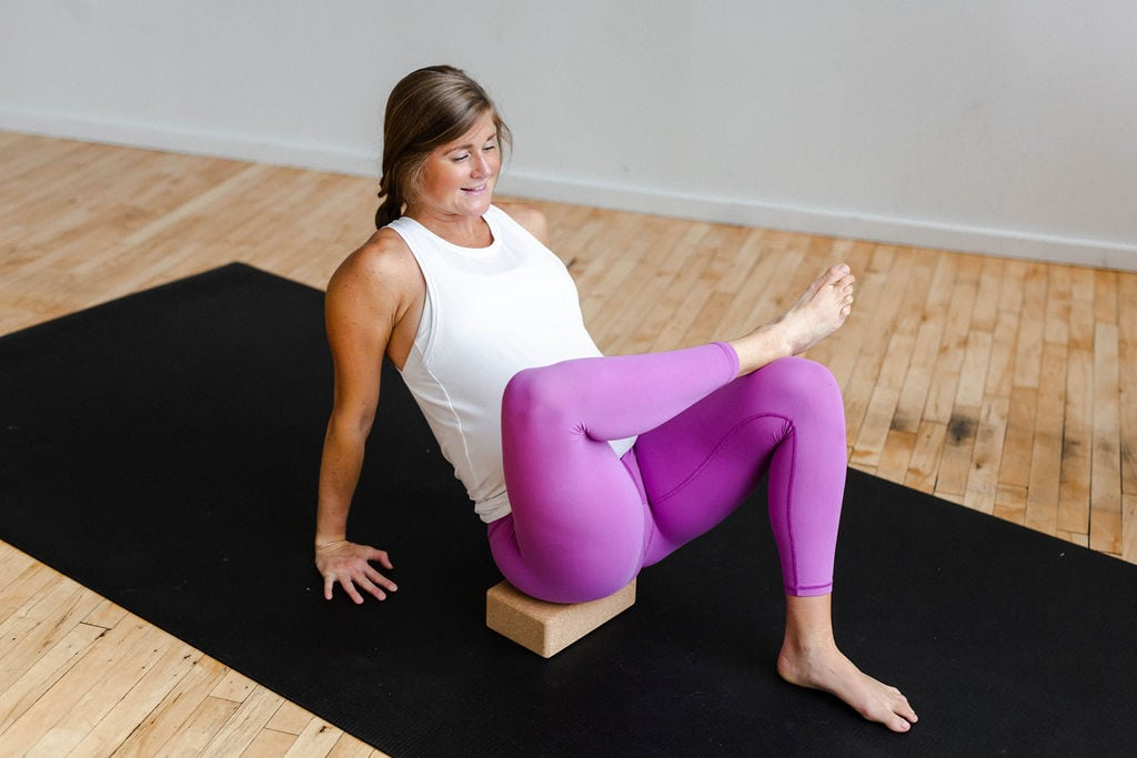 Prenatal Yoga using Yoga Block for assistance