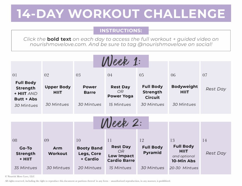 14 Day Workout Challenge Calendar