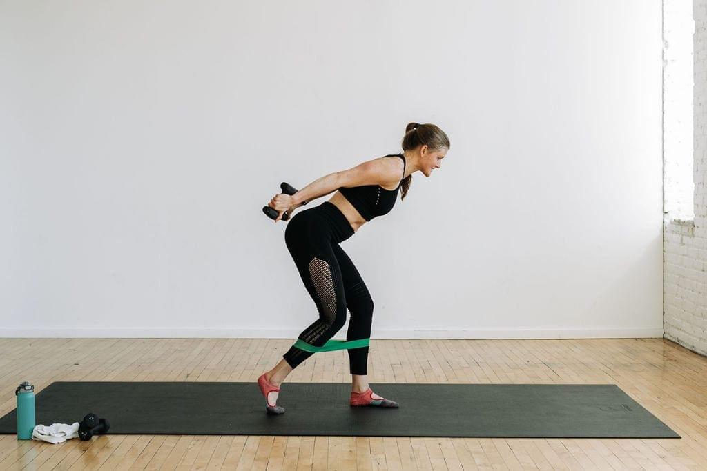 barre workout at home with light weights and resistance band