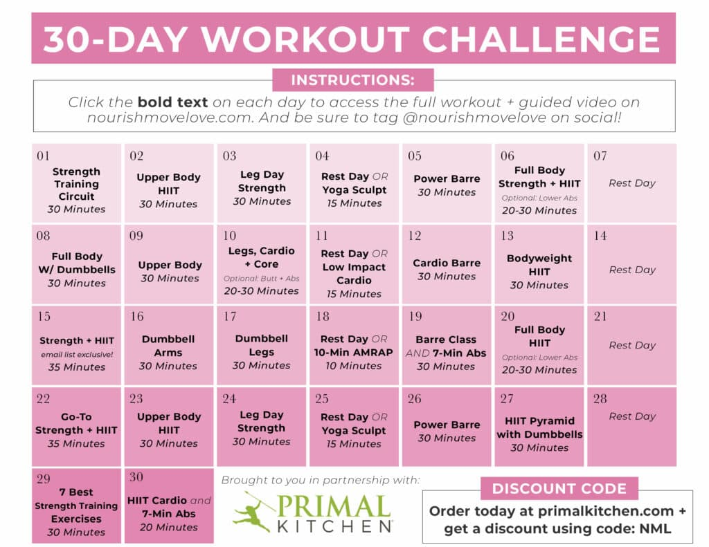 30 Day Home Workout Schedule