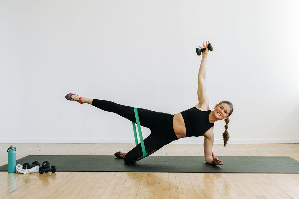 Barre abs side plank with resistance band