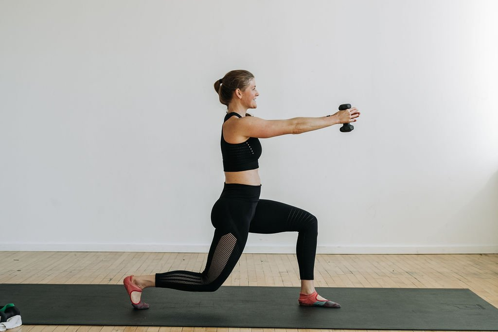 cardio barre workout lunge with light weights