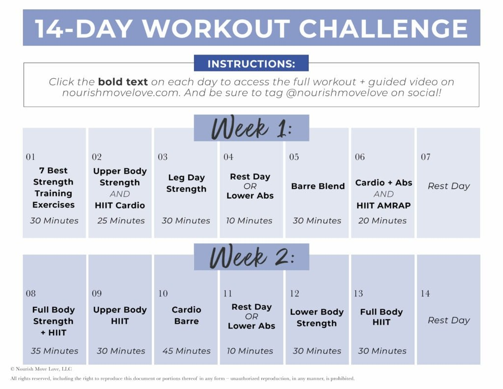 14 Day Challenge daily workout calendar