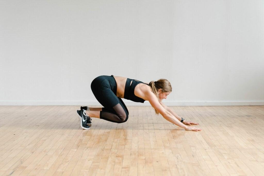 Bodyweight cardio exercise launcher plank
