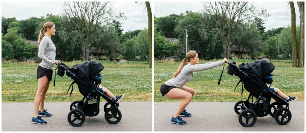 bodyweight squat with jogging stroller