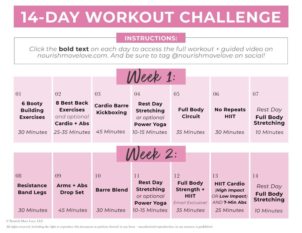 14 Day Workout Plan | weekly workout plans