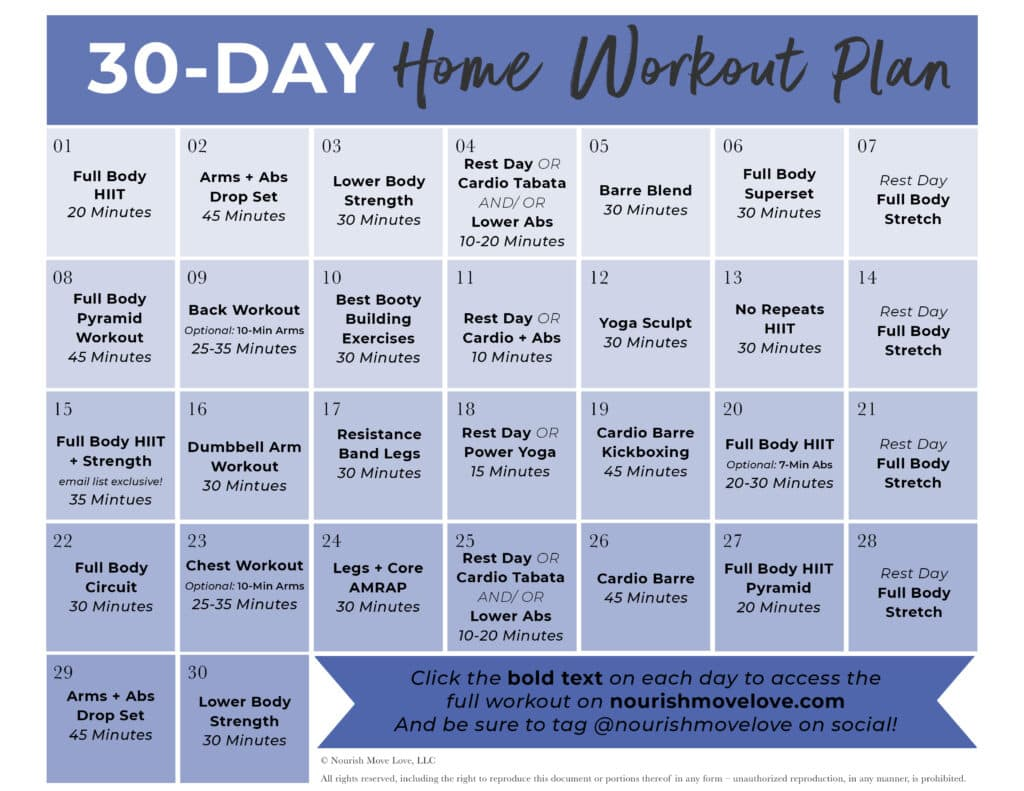 Download FREE 30 Day Home Workout Plan