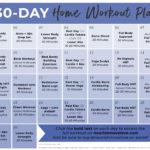 30 Day Workout Plan Calendar Graphic