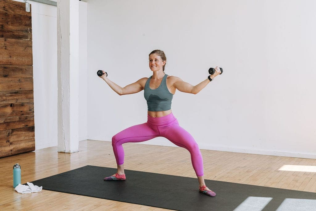 Horse Pose | yoga pose with dumbbells