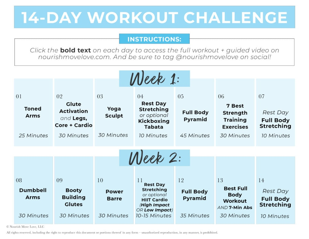14 Day Workout Plan Calendar Graphic with clickable Links