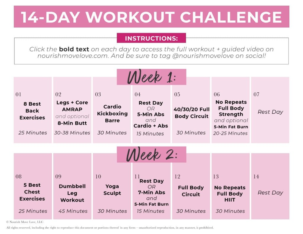 14 Day Workout Challenge Calendar Graphic
