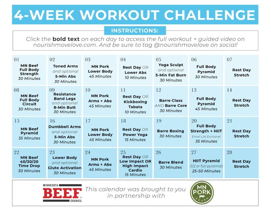 4 Week Home Workout Plan Calendar Graphic PDF
