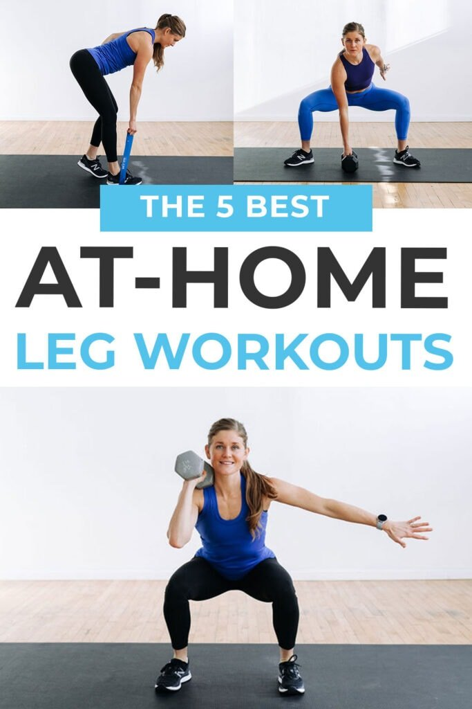 5 BEST Leg Workouts At Home | pin for pinterest