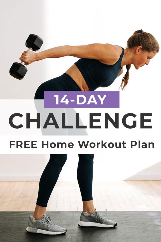 Free Home Workout Plan: 14 Day Challenge pin for pinterest