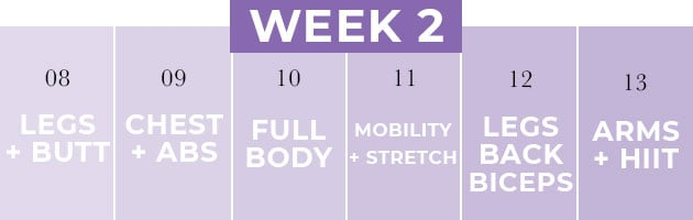 14 Day Challenge WEEK Two Workout Schedule
